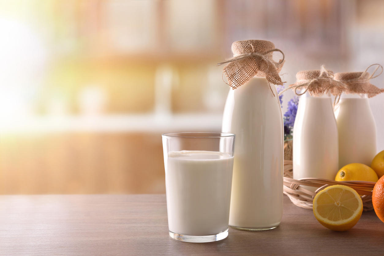Milk containers on wooden table in sunny rustic kitchen